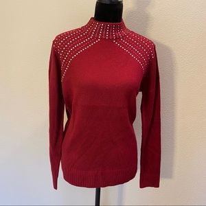 NEW Juicy Couture XL embellished sweater brick red